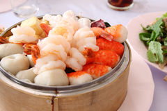 Steamed shrimp and fish ball Stock Photography