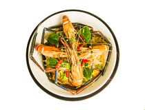 Steamed shrimps with glass noodles Royalty Free Stock Images