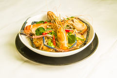 Steamed shrimps with glass noodles Stock Images