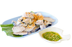 Steamed snapper with dipping sauce Stock Photography
