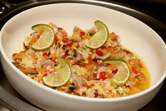 Steamed snapper fish with lemon at seafood Royalty Free Stock Photography