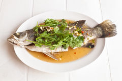 Steamed snapper fish with lemon , Royalty Free Stock Photos