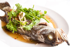 Steamed snapper fish with lemon , Royalty Free Stock Photography