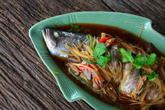 steamed snapper with soy sauce Stock Photo