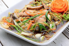Steamed snapper with soy sauce,Thai food Stock Image