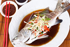 Steamed Snapper with Soy Sauce2 Royalty Free Stock Photo