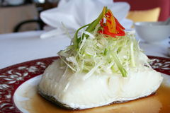 Steamed Snow Fish. In soy sauce Royalty Free Stock Images