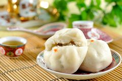 Steamed stuff bun Stock Photo