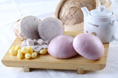 Steamed stuff Bun. This Bun is made from Taro and Ginkgo Royalty Free Stock Images