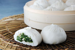 Steamed stuffed bun. Chinese traditional steamed stuffed bun Royalty Free Stock Photography