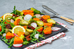 Steamed sweet potato, broccoli and other vegetables royalty free stock images
