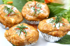 Steamed Thai spicy crab souffle. Famous steamed Thai crab souffle/ cake Royalty Free Stock Photo