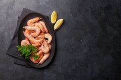 Steamed tiger shrimps royalty free stock image
