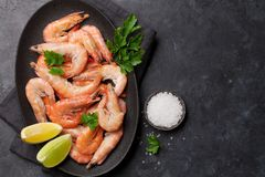 Steamed tiger shrimps royalty free stock photography