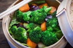 Steamed vegetable on bambo Stock Image