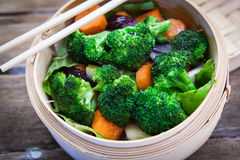 Steamed vegetable on bambo Stock Photos