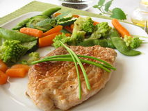 Steamed vegetable with pork cutlet Royalty Free Stock Photography