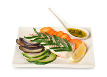 Steamed vegetables and fish Royalty Free Stock Photos