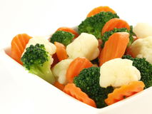 Steamed vegetables, isolated, close up Royalty Free Stock Photo