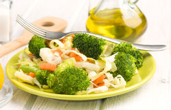 Steamed vegetables in modern plate Royalty Free Stock Image