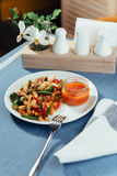Steamed vegetables a mushrooms and sauce. Advertising shooting menu. Royalty Free Stock Image