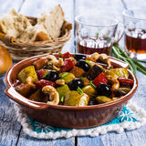Steamed vegetables with olives Royalty Free Stock Photos