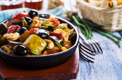 Steamed vegetables with olives Stock Photos