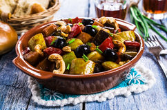 Steamed vegetables with olives Royalty Free Stock Photography