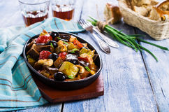Steamed vegetables with olives Stock Photo