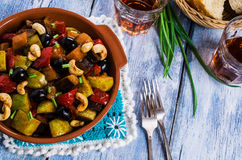 Steamed vegetables with olives Stock Image