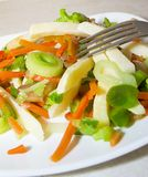 Steamed vegetables: potatoes, carrots, onions, Stock Photo
