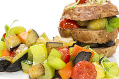 Steamed vegetables and rye bread Stock Photo