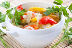 Steamed vegetables in a white bowl, Royalty Free Stock Images
