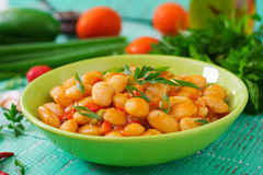 Steamed white beans with vegetables Stock Photos