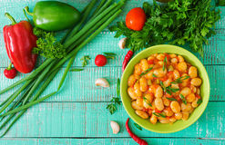 Steamed white beans with vegetables Royalty Free Stock Photos