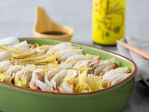 Steamed white cabbage or kimchi in meal box in japanese style Stock Image