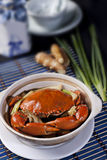 Steamed Whole Crab with Green Onions Stock Images