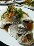 Steamed whole Seabass Stock Photo