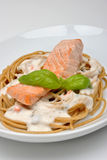 Steamed wild salmon steak with pasta Royalty Free Stock Image