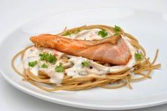 Steamed wild salmon steak with pasta Stock Photo