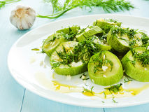 Steamed zucchini Stock Photos