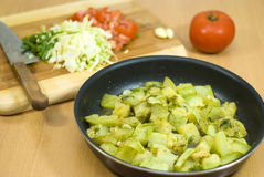 Steamed Zucchini In Pan Royalty Free Stock Photography