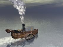 Steamer boat - 3D render Royalty Free Stock Photography