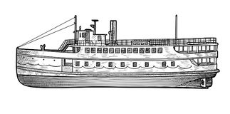 Steamer boat illustration, drawing, engraving, ink, line art, vector stock illustration