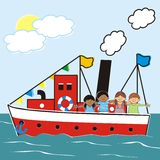 Steamer and children vector illustration