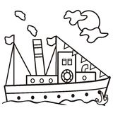 Steamer - coloring book Royalty Free Stock Photo