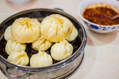 Steamer with differently sized Chinese baozi Royalty Free Stock Image