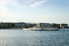 Steamer in Geneva Lake and quay Mont Blanc Stock Photo