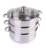 Steamer pan on background Stock Photos