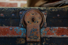Steamer Trunk Hasp Shallow DOF. Close up of the lock hasp on a steamer trunk with shallow DOF Royalty Free Stock Photography